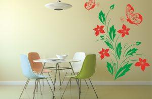 sticker floral cu fluturi